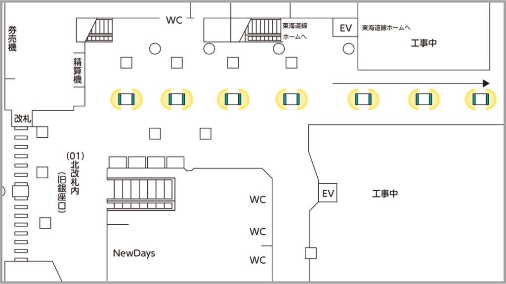 JR東日本 J・ADビジョン 新橋駅改札内南北通路 掲出位置