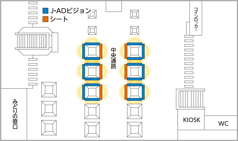 JR東日本 池袋中央通路デジタルシートセット 掲出位置