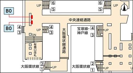 JR西日本 駅ポター 大阪駅桜橋LED4セット 掲出位置